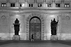 Watchmen (Daniel Nebreda Lucea) Tags: street calle night noche city ciudad old vieja antigua door puerta sculpture escultura two dos three tres people gente black white blanco negro monochrome monocromo noir long exposure larga exposicion architecture arquitectura building edificio big grande giant gigante texture textura composition composicion lights luces shadows sombras amazing increible walking andando summer verano travel viajar canon 50mm 60d zaragoza europe europa spain españa lines lineas castle castillo church iglesia cityhall ayuntamiento bw blackandwhite