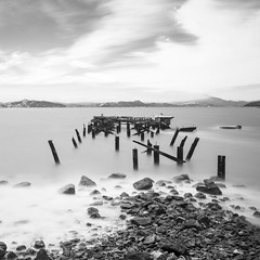 pier remnants (eb78) Tags: bw blackandwhite monochrome greyscale grayscale flemingpoint albany eastbay longexposure landscape abandoned decay ca california sanfranciscobay