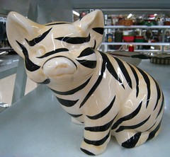 a pig with identity issues? (muffett68 ☺☺) Tags: pig ceramic painting withstripes zebrawannabe humor