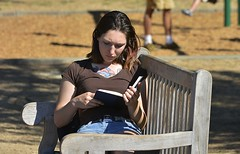 Reading In The Park (swong95765) Tags: book girl woman lady reading park bench tattoo female