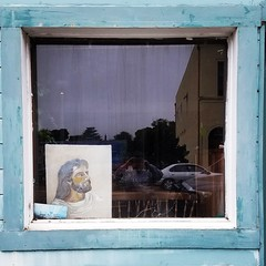 Broken Window Theory (rickele) Tags: pointarenacalifornia secondhandstore outofbusiness jesuschrist painting brokenwindow