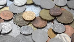 Coins of the different countries of the world. (daria.boteva) Tags: accounting africa background bank banking britain british business cash cent change coin copy currency debt dollar economy english euro finance financial greatbritain growth heap india investment isolated kingdom metal money movement nobody payment pence pile pound recession rich rupee saving shilling sterling studio uk united wages wealth white