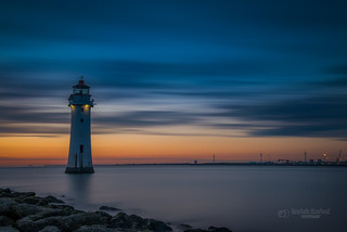 New Brighton Lighthouse after sunset
