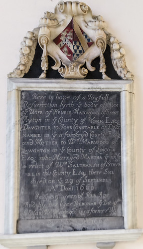 Langton by Wragby, St Giles' church, memorial