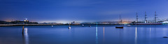 halcyon harbor (pbo31) Tags: sanfrancisco california nikon d810 color june 2017 spring boury pbo31 motionblur panoramic large stitched panorama aquaticpark bay water sail tall ship historic lighthouse alcatraz blue night bluehour dark reflection hydestreet pier public municipal halcyon harbor