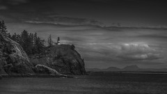 Light at Dead Man's Cove (writing with light 2422 (Not Pro)) Tags: capedisappointmentlighthouse washingtonstate richborder landscape seascape lighthouse blackandwhite bw monochrome