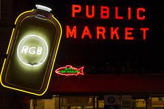 Seattle Neon (matthewkaz) Tags: rgb neon neonsign neonsigns sign signs publicmarket cityfishmarket pikeplace pikeplacemarket night lights downtown city urban seattle washington 2017 rachelsgingerbeer