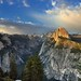 Blue Skies and Beautiful Clouds Above Half Dome and Yosemite National Park