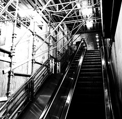 Repairs (Demmer S) Tags: underconstruction construction underground indoors repairing constructionsite restoration renovating renewal project reconstruction escalator stairway movement up down stairs steps moving staircase stair treads transporting endless rising descending upward downward lines lights shine silver parallel diagonal inside metra trainstation transportation architecture architectural repairs urbanexploration urban documentary journalism photographing publication publishing funwithtags reporting reportage photographer presenting news thepress newspapers newsmedia magazines reporter downtown windycity chicagoland chicagoist bw monochrome blackwhite blackandwhite blackwhitephotos blackwhitephoto
