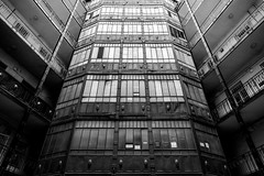 Taste of Budapest1. The Dalek. (wes_f_hunt) Tags: courtyard budapest hungary black white fuji xe2 x mount travel wide 14mm angle grain