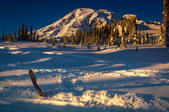 Winter Paradise (writing with light 2422 (Not Pro)) Tags: paradise mountrainiernationalpark mountrainier mountain volcano stratovolcano sleddingarea sunset richborder landscape washingtonstate nationalpark explored