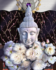 Purity of Intentions (John Jardin) Tags: buddha white flowers roses blooms icon jewels necklace pattern stilllife shadows texture black pink beauty peace medallion drama wood exotic jewlery floral sunlight statue petunia meditative