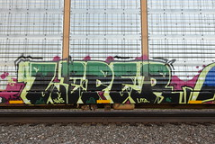 LEPER (TheGraffitiHunters) Tags: graffiti graff spray paint street art colorful freight train tracks rolling canvas painted steeel autoracks racks