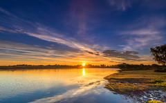 Hatchett Pond Sunrise (nicklucas2) Tags: newforest landscape hatchetpond pond reflection sun sunrise water cloud