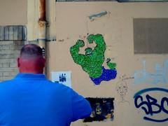 Blue & Green Hulk (Michele Ginolfi) Tags: hulk cartoon street colours green blue man shirt wall graffitti paris montmatre