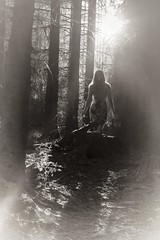 Light into the dark (frantiekl) Tags: lady light sunlit sunny day forest blackwhite bw bnw mono monochrome blackandwhite trees walk walking happy pretty summer people natural life person