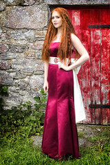 Lady in red (BarryKelly) Tags: red dress satin head door grass pose curly hair silk stone wall mayo galway girl woman lady