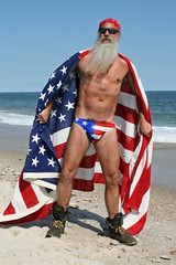The All American Redneck (Cowboy Tommy) Tags: flag hair hairy bandana hanky beard bearded redneck muscle muscles nips pecs ocean chest portrait cherrygrove thepines redwhiteanblue fireisland crotch bulge swimwear unclesam hot sex sexy pubies pubichair legs american superhero america manly rugged boots beach star stripes bikini