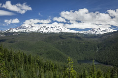Three Sisters over Linton Lake (roe.nate) Tags: mountain lake forest snow cloud tree nature wilderness outdoor oregon cascades pnw