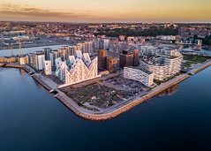 Isbjerget (SmartDrones Aarhus) Tags: aarhus aarhushavn aarhusø urbanmediaspaceaarhus isbjerget solopgang sommer aarhusmunicipality denmark dk fotodennisborupjakobsen