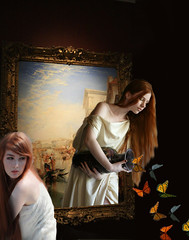 The Mysterious Painting (ihave3kids) Tags: deviantart photoshop photomanipulation photoshopcontest photoshopcompetition digitalarts girl portrait artgallery painting frame butterflies outofbounds goddess jar imagination fantasy