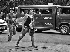 Striding (Beegee49) Tags: street jeepney woman filipina walking fast striding bacolod city philippines