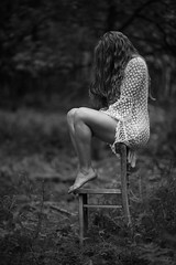 Dynamic Equilibrium II BW (CARECOM photography) Tags: chair forest woman thinking alone dynamic instabile equilibrium sexy sensual bw single outdoor