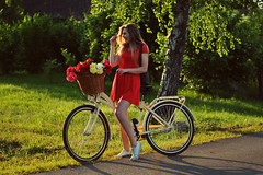 (DorotaPh) Tags: flowers floral bike girl blonde red portrait poland polish 50mm nikon natural light summer sunset smile dress girly women body beauty happy warm colors holiday