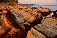 Reef of Sunset glow (chikaraamano) Tags: reef、sky sea nature coast rock outdoor rocks horizon dusk nice attractive location distance various earlysummer excellently continues