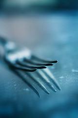 fork (borealnz) Tags: fork macro utensil cutlery reflecton blue kitchen