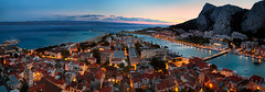 pirate stronghold (cherryspicks (on/off)) Tags: mediterranean adriatic sea water city town bluehour sunset architecture buildings travel landscape cityscape river cetina bridge light dusk historic pirate omiš almissa dalmatia croatia summer beach port harbor boats longexposure panorama
