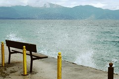 Day 181 : Is for ... The Bench By The Sea (Storyteller.....) Tags: 365 bench sea waves sky blue yellow