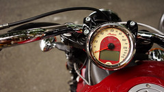 Indian Scout in detail (Eric Flexyourhead) Tags: vancouver canada britishcolumbia bc chinatown columbiastreet theshop city urban detail fragment motorcycle motorbike bike american indian indianmotorcycles indianscout instruments gauges speedometer red shallowdepthoffield sonyalphaa7 zeisssonnartfe35mmf28za zeiss 35mmf28