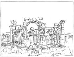 Syria, Palmyra, Monumental Arch (pirlouit72) Tags: syria syrie palmyra palmyre sketch drawing dessin croquis urbansketch urbansketcher urbansketchers carnetdevoyage