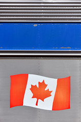 Canada is really something to see (James_D_Images) Tags: train rail car closeup canada canadian flag red white grey blue metal abstract jasper alberta maple leaf colonialism