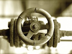 gas valve -  industrial (kasuog) Tags: pipe line industry industrial pipeline piping valve tubing pressure gas construction engineering energy equipment metal steel service pressurized tube closure transportation system installation coupling distribution plumbing conduct craft connected maintenance fix technology iron fittings structural water object factory work wire flow section closeup transmitter temperature stop pipelining brown rusty canon carti5photography sepia photo