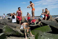 Off Limits (dtanist) Tags: nyc newyork newyorkcity new york city sony a7 konica hexanon 40mm brooklyn coney island beach sand rock jetty rocks beachgoers lifeguard