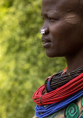 Portrait of a sudanese Toposa tribe woman refugee with huge necklaces and nose decoration, Omo Valley, Kangate, Ethiopia (Eric Lafforgue) Tags: adult africa anthropology beaded beads beautifulpeople bizarre blackpeople bodytransformation closeup day decoration developingcountry eastafrica ethiopia ethiopia0617281 ethiopian feminine headshot hornofafrica indigenousculture jewel jewelry kangate markings necklaces omovalley oneperson onewomanonly ornament ornamentation outdoors portrait refugee scarifications scars sideview sudanese toposa traditionalclothing tribal tribe tribeswoman vertical women et