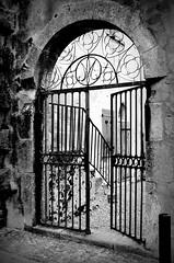 Come in (paula_gn) Tags: bw byn black white blackandwhite monochrome monocromatico monocromo door puerta porte reja mirepoix francia france