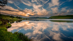 Evening reflections, Llyn Clywedog, Powys, Wales (christaff1010) Tags: d750 landscape sunset water hills clouds sun britain reflection wales powys sky sunlight green lake uk panorama unitedkingdom gb llanidloes