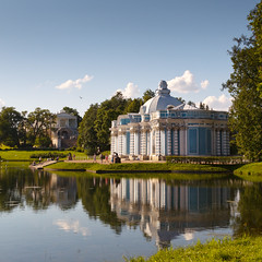 Pavilion Grotto, Tsarskoye Selo (VladimirTro) Tags: россия санктпетербург russia russian reflection architecture sky sunny canon cloud colour water tsarskoyeselo building square eos dslr photo photography