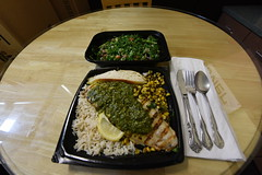 My Grilled Swai Fish Lunch (SCSQ4) Tags: lunch swai fish rice bread lemon kale tabbouleh salad california grill