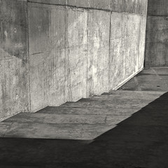 Blues of concrete, study 2 (Hassenblad 503, Kodak Tri-X 400) (alejandro lifschitz) Tags: lifschitz black white blanco negro argentina outdoor hasselblad square lightroom photoshop silver efex pro epson 850 monochrome photo border buenos aires shadows sombras texture ingenieria engineering architecture fence lens noiretblanc camera exposure 120mm roof lines building kodak trix 400 hc110 monocromo abstract concrete concreto hormigon plaza shapes
