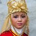 portrait of a beautiful Muslim cheerleader, Central Java, Borobudur, Indonesia