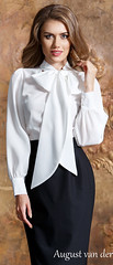 33230326412_de876a273a_b (VeronArmon) Tags: bow blouse tie silk satin model long short legs high heels blonde woman lady cute beautiful office strict formal secretary pose skirt scarf pinup