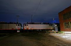 AEM-7's... in Kansas? (Jeff Carlson_82) Tags: amtk amtrak aem7 electric toaster 3 swedishmeatball 942 928 southwestchief nightphotography night topeka ks kansas bnsf topekasub aar pueblo train railfan railroad railway testing