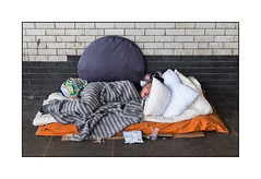 Homeless Woman, North London, England. (Joseph O'Malley64) Tags: homeless homelesswoman homelessinlondon2017 northlondon london england uk britain british greatbritain roughsleeper sleepingrough bereft vulnerable atrisk onthestreet sleeping asleep bed bedding popuptent shelter railwaybridge overbridge tiles tiling glazedtiles pavement woman youngwoman urban invisible politicallyunacceptable sociallyunacceptable fujix x100t accuracyprecision