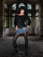 Raven (Irene Nyman) Tags: doll irenenyman tgirl transgirl crossdress xdress crossdresser transvestite denimskirt miniskirt boots highheels holland dutch irene nyman raven dark ruins pantyhose