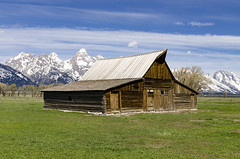 Western Barn in the Tetons (rschnaible) Tags: grand teton national park us usa west western landscape tour tourist touring sightseeing mountains outdoor barn mormon row old history historic building architecture