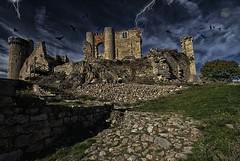 Chateau de rochebaron (jackyg170) Tags: chateau auvergne haute loire old castle vieux fantôme corbeaux paysage ruine landscape nuages clour moon lune hanté haunted manoir rochebaron hauteloire basenbasset crows